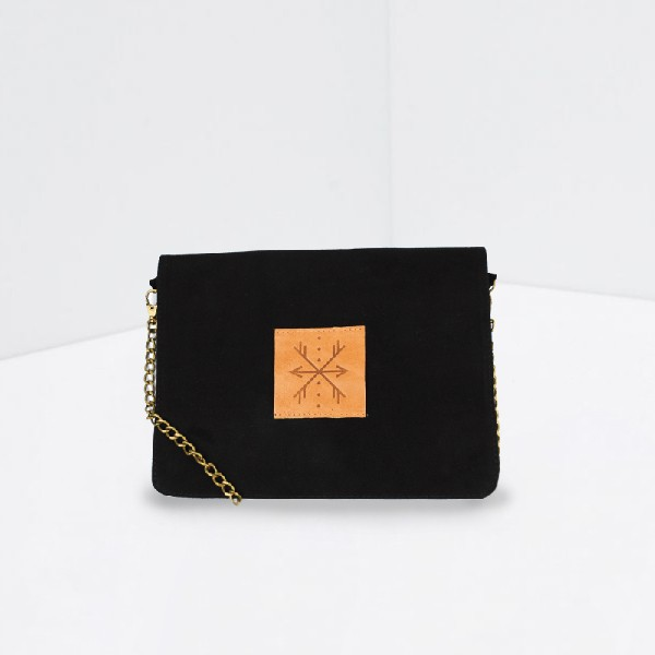 SLON: Natural Leather Clutch Black
